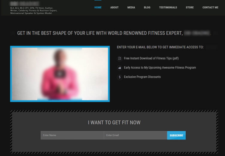 personal fitness trainer homepage review