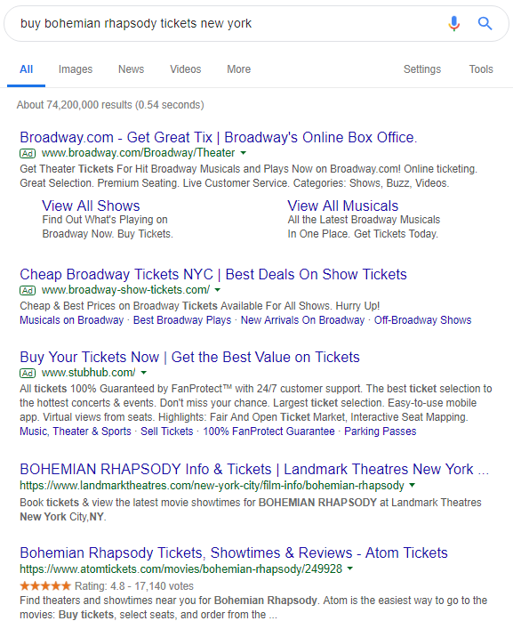 user is performing a transactional search query
