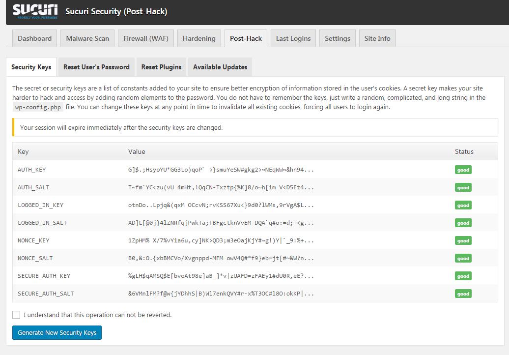 post hack options sucuri