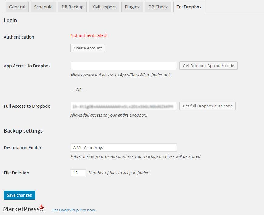 BackWPup Dropbox authentification