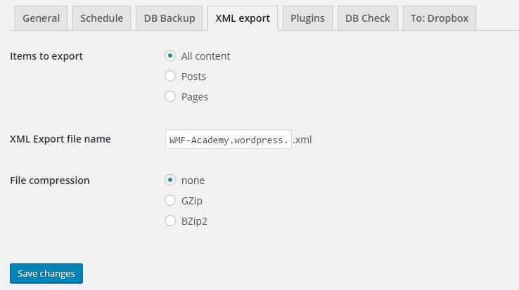 BackWPup XML export