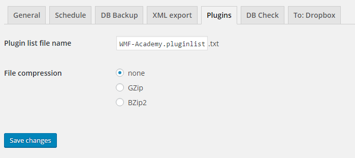 BackWPup XML plugins