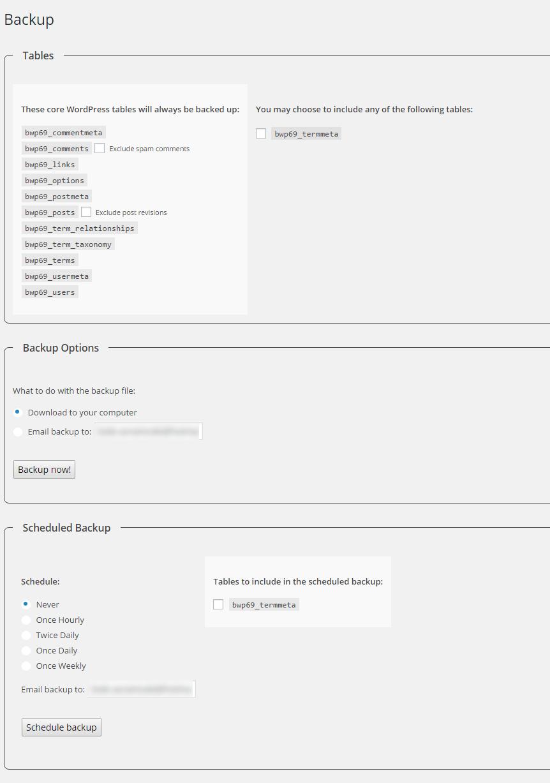 WP-DB-Backup how to use