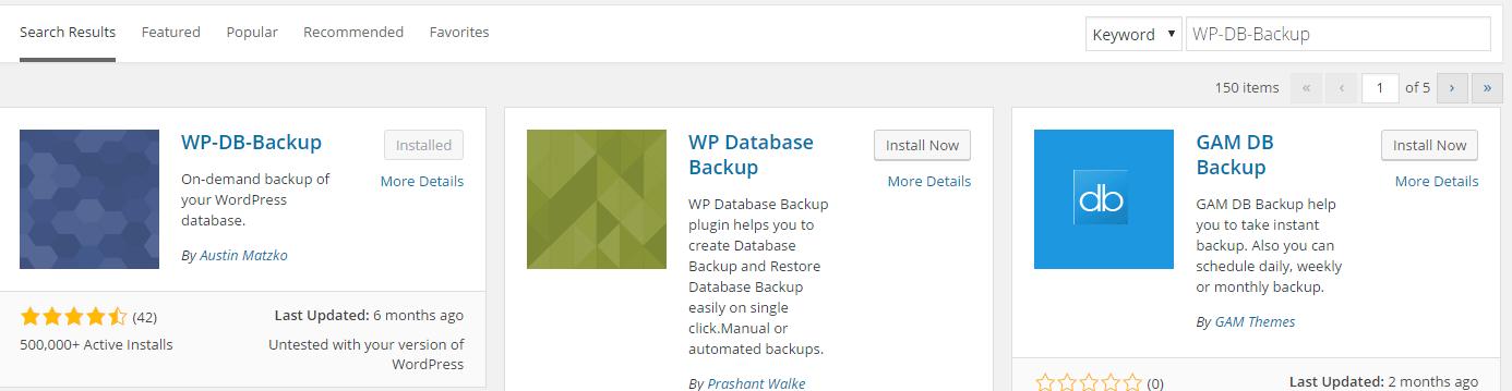 WP-DB-Backup install