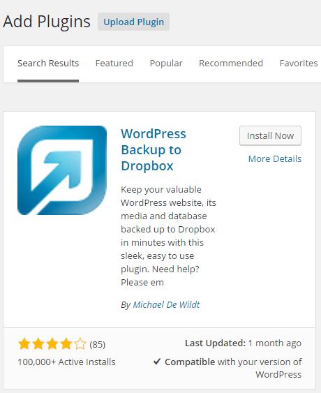 WordPress Backup To Dropbox install