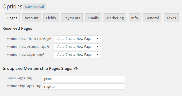 memberpress options pages