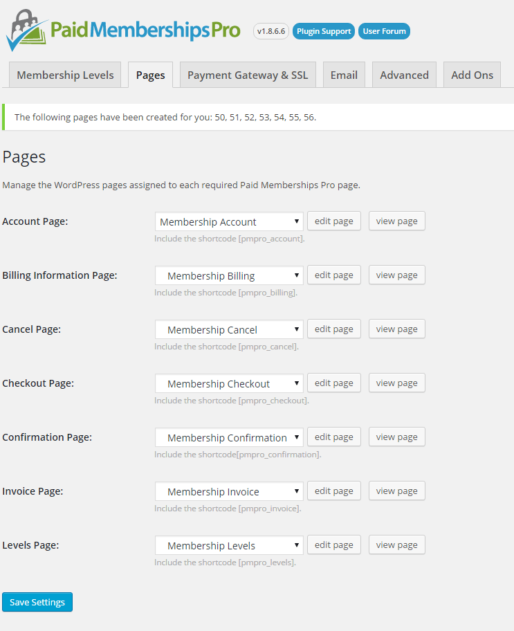 paid membership pro generated pages