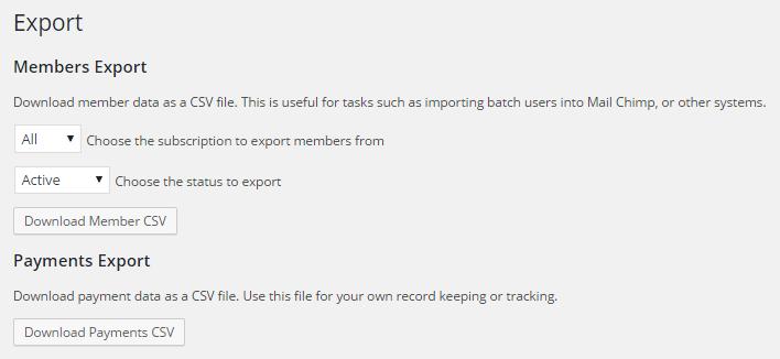 restrict content pro export