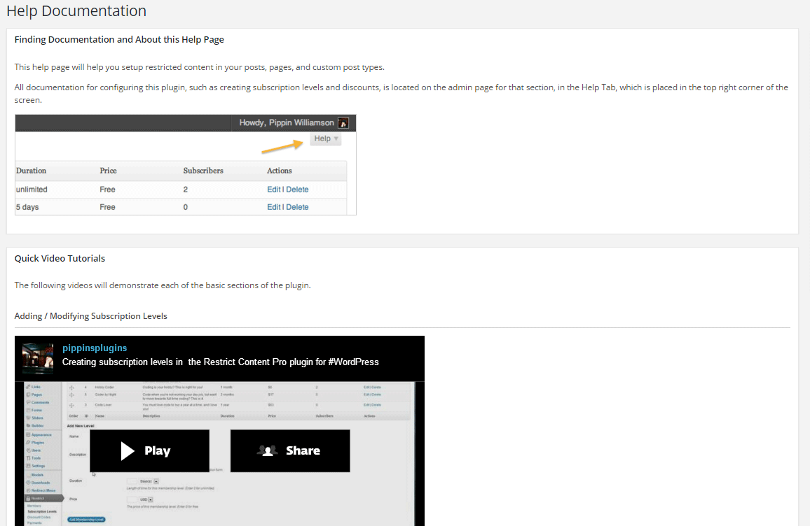 restrict content pro help documentation
