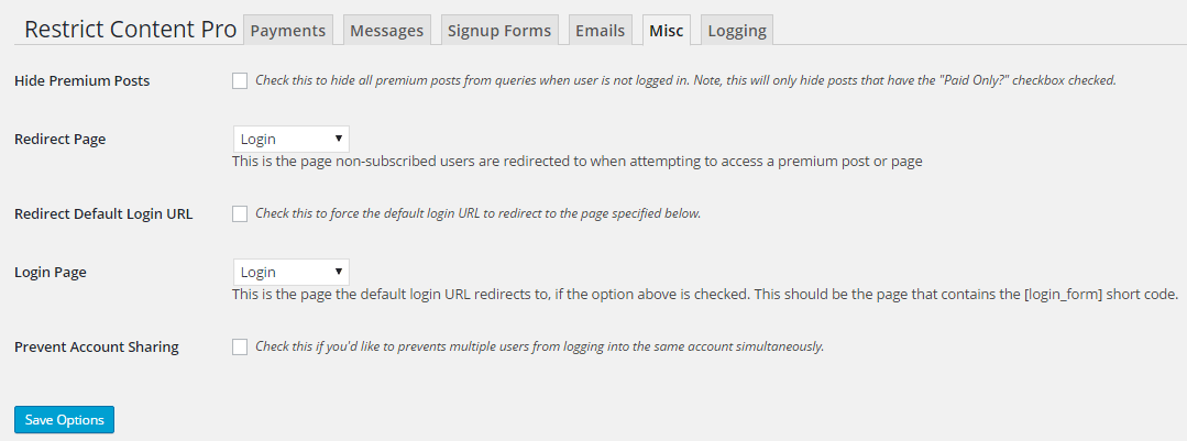 restrict content pro misc settings
