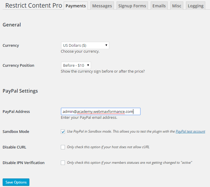 restrict content pro payment settings