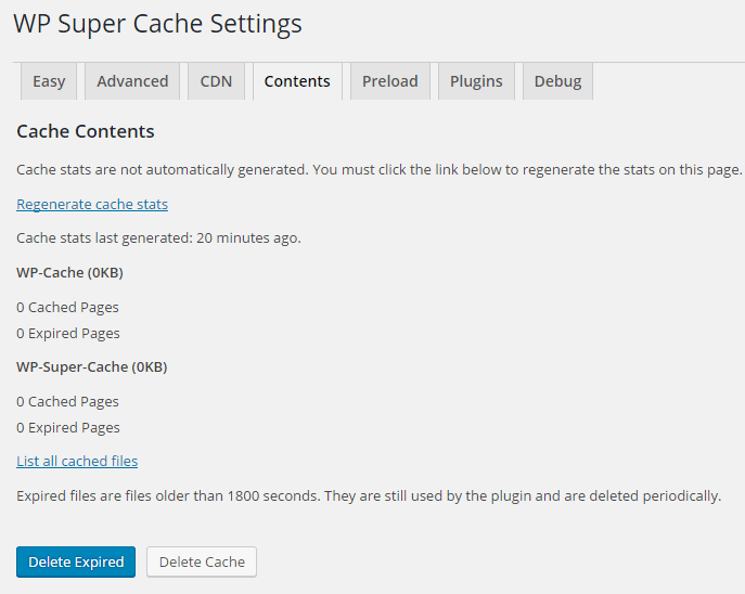 wp super cache cache contents
