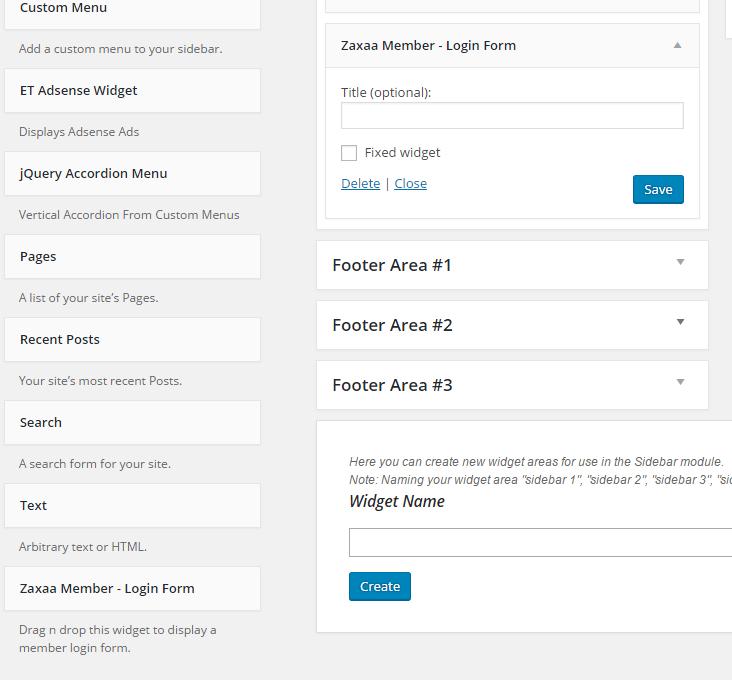 zaxaa member login form sidebar