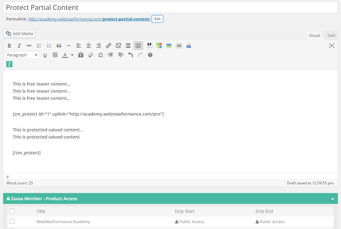 zaxaa member protect partial content editor
