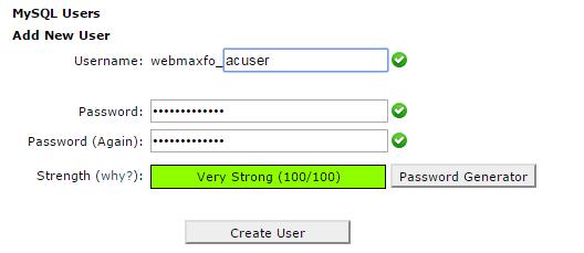 WordPress database user
