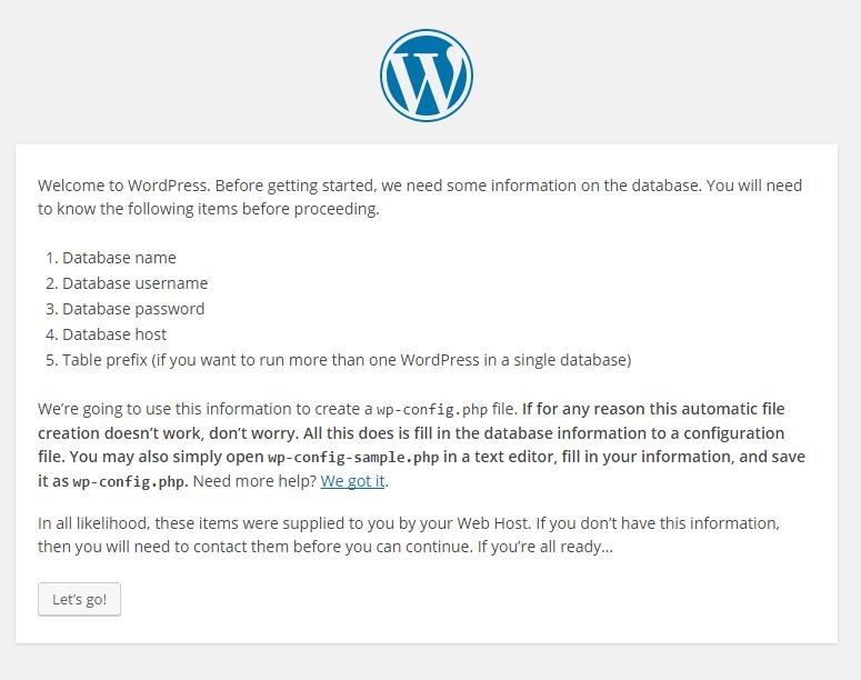 WordPress installation lets go