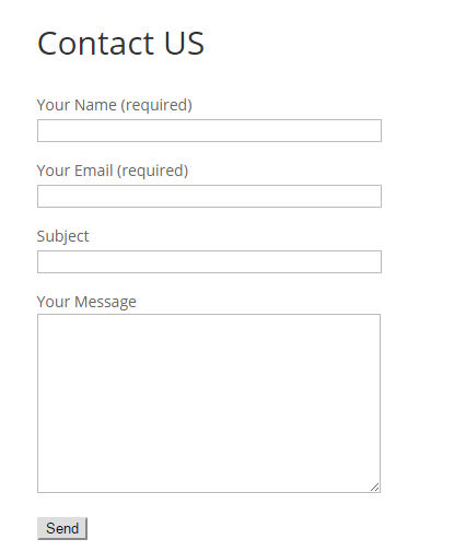 Figure 11. Our contact form at the frontend