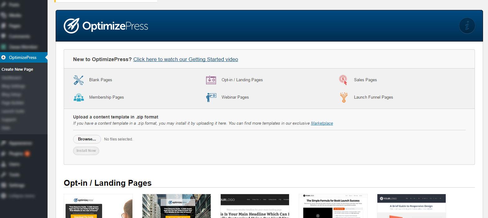create-new-page-optimizepress