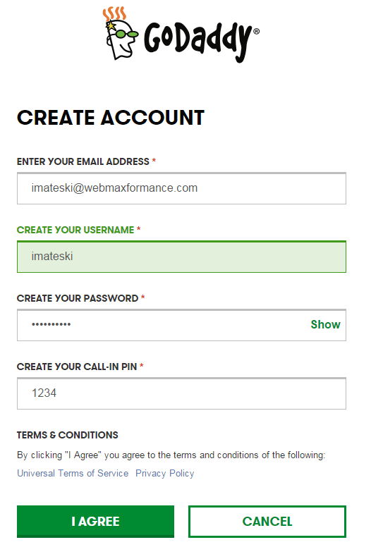 godaddy register account