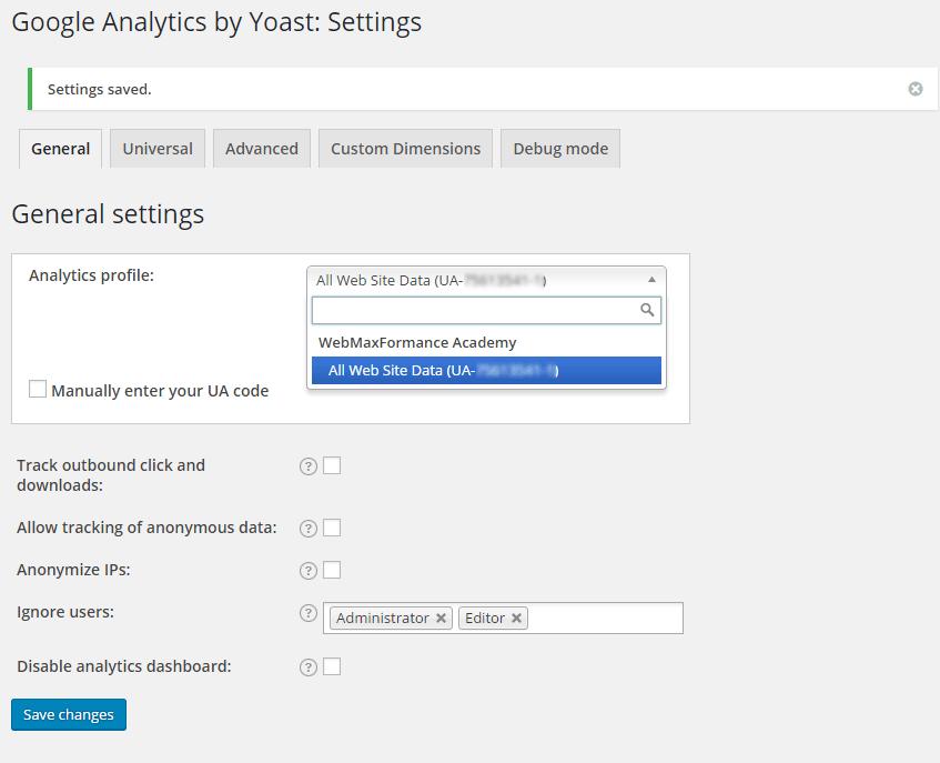 google analytics select profile
