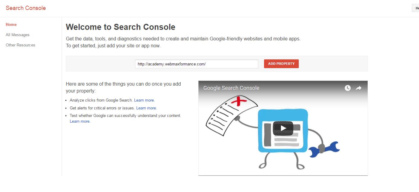 google search console add propery