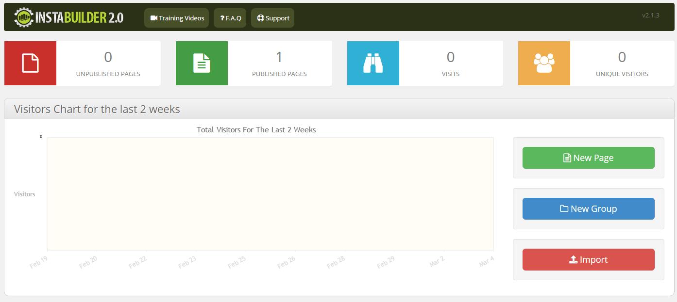 instabuilder create new page