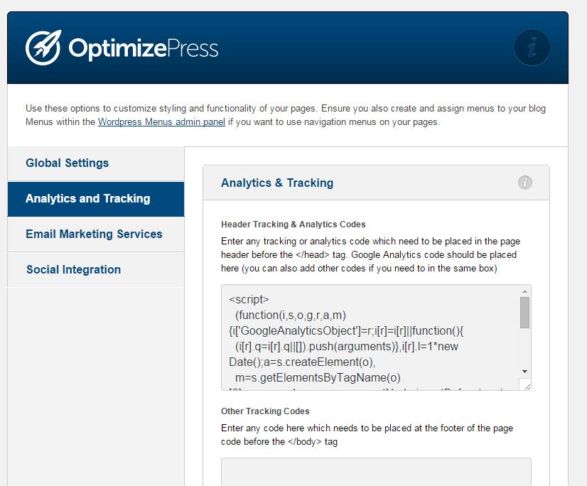 optimizepress analytics tracking