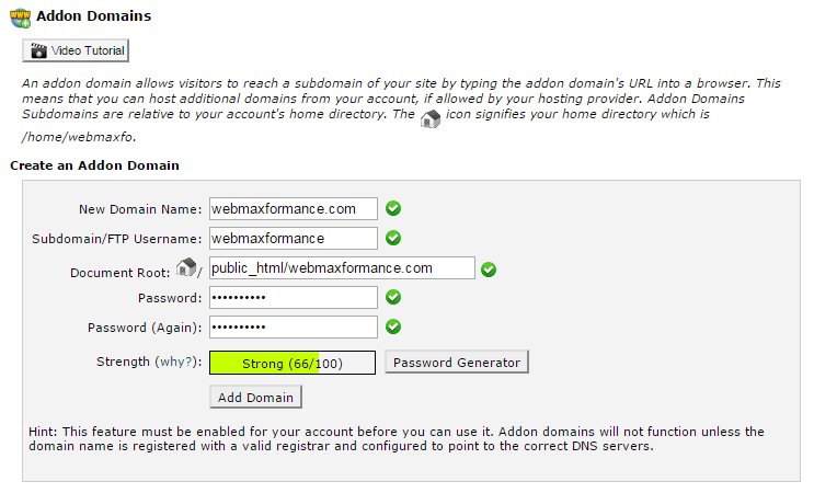 siteground addon domain