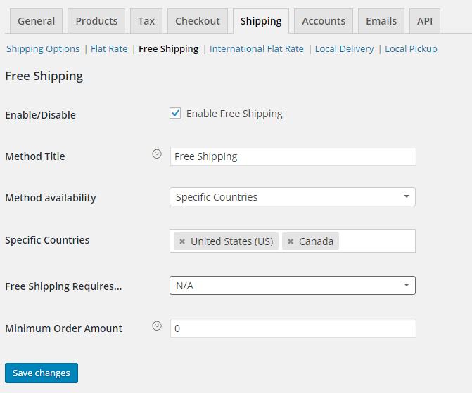 woocommerce free shipping