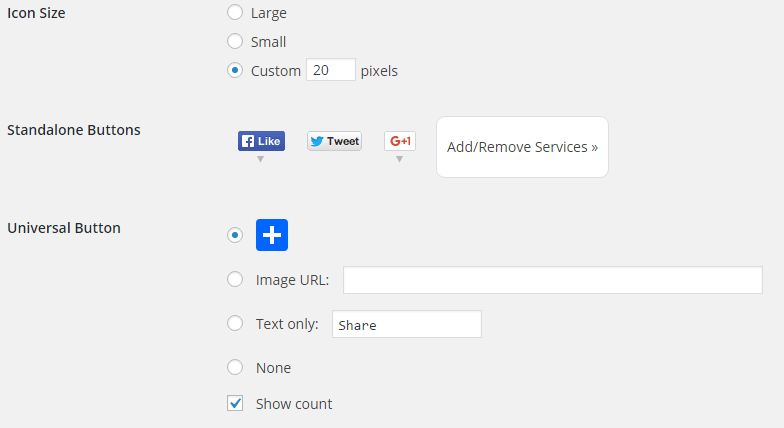AddToAny 1 click sharing customize
