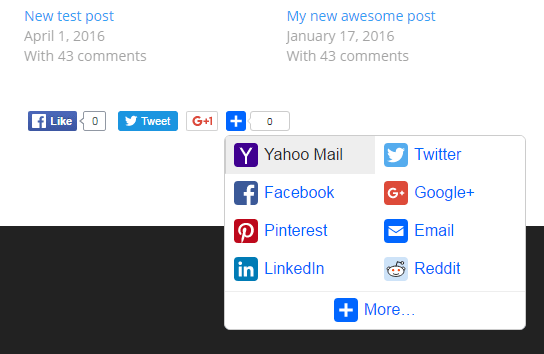 AddToAny 1 click sharing frontend