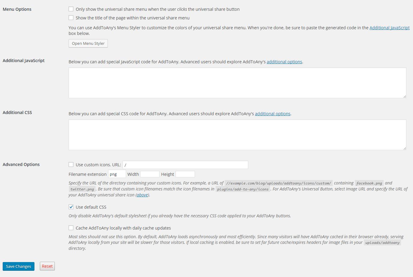 AddToAny advanced configuratons