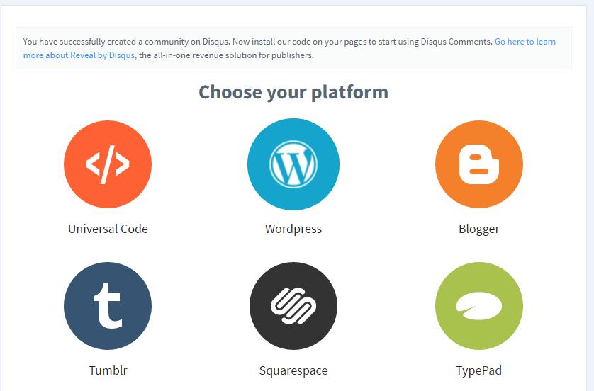 disqus comment system choose platform