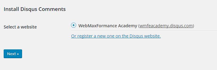 disqus comment system select website
