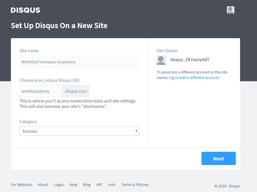 disqus comment system set up