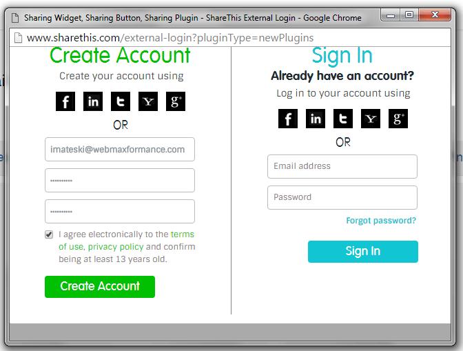 sharethis create account