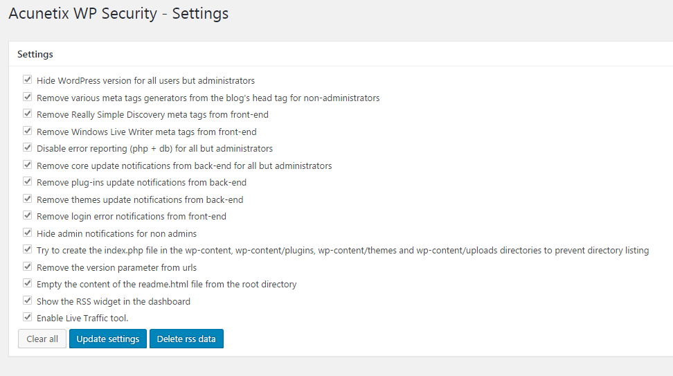 acunetix wp security all settings