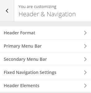 header and navigation
