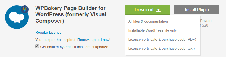 Figure 1. Download the Visual Composer from CodeCanyon Download page