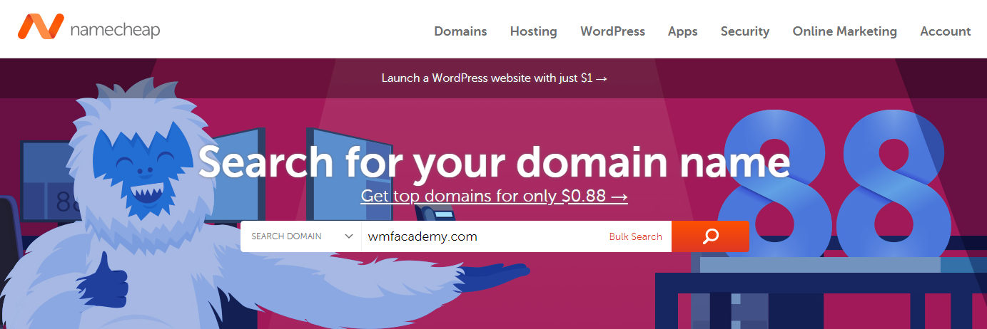 Search the availability of your domain name