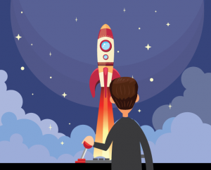 a commercial real estate agent launching a rocket