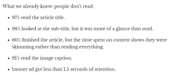 people first scan the blog post structure and then read, if they read at all