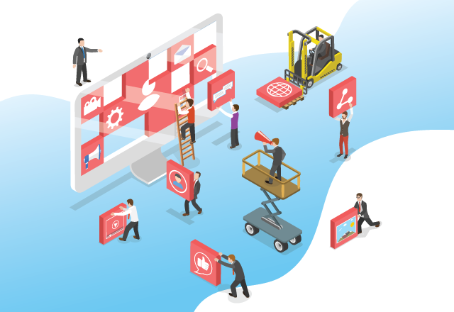 illustration of people setting up a website